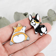 Load image into Gallery viewer, Creative Cute Corgi Dog Brooch Lady Hat Collar Pin Men's Jackets Backpack Badge High Quality Enamel Metal Brooch Jewelry