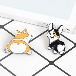 Creative Cute Corgi Dog Brooch Lady Hat Collar Pin Men's Jackets Backpack Badge High Quality Enamel Metal Brooch Jewelry