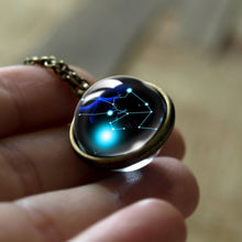 Load image into Gallery viewer, Zodiac 12 Constellations Art Photo Glass Cabochon Necklace Double Side Pendant Necklace Leo Necklace