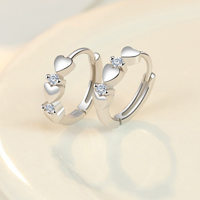 Exquisite Silver Zircon Silver Heart-shaped Hoop Earrings Jewelry for Girl