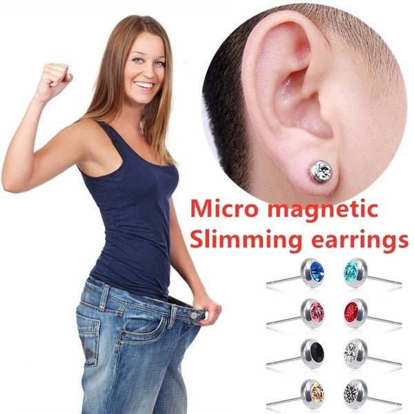 Fashion Diamond Micro Magnetic Slimming Earrings Shiny Earrings Natural Magnetic Weight Loss Earrings Fat Burning Magnetic Therapy