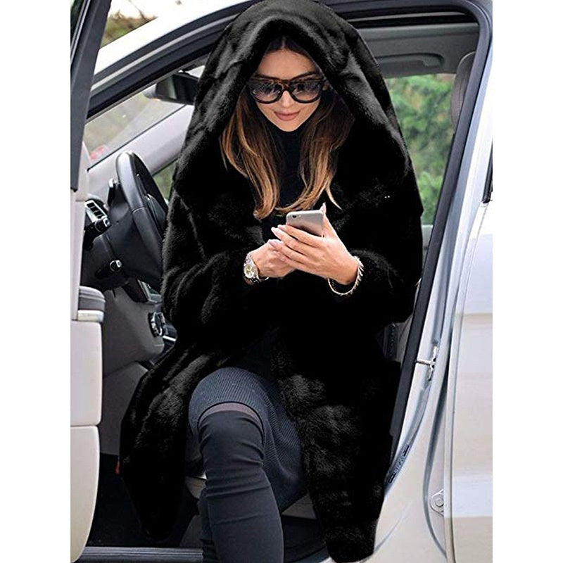 Winter Warm Long Cardigan Hooded Loose Fur Outwear Jackets Coats for Women Plus Size S-5XL