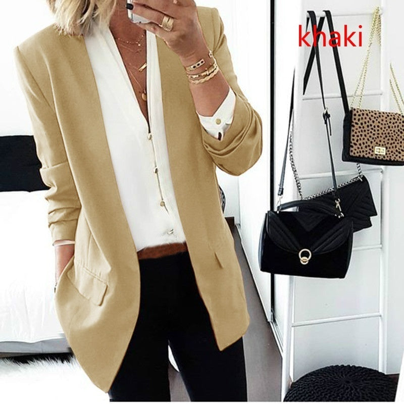 Ladies Slim Fashion Autumn Winter Solid Color Small Suit Coat Women Long Sleeve Cardigan Outwear Tops