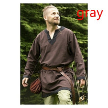 Load image into Gallery viewer, Ethnic Medieval Renaissance Shirt Men's Pirate Viking Shirt Knight Sleeve Men's Tops Medieval Costume Fantasy Costume 5 Color XS-5XL (No Belt)