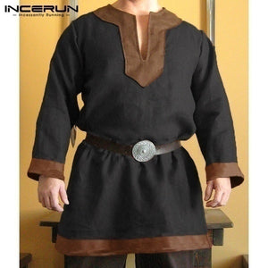 Ethnic Medieval Renaissance Shirt Men's Pirate Viking Shirt Knight Sleeve Men's Tops Medieval Costume Fantasy Costume 5 Color XS-5XL (No Belt)