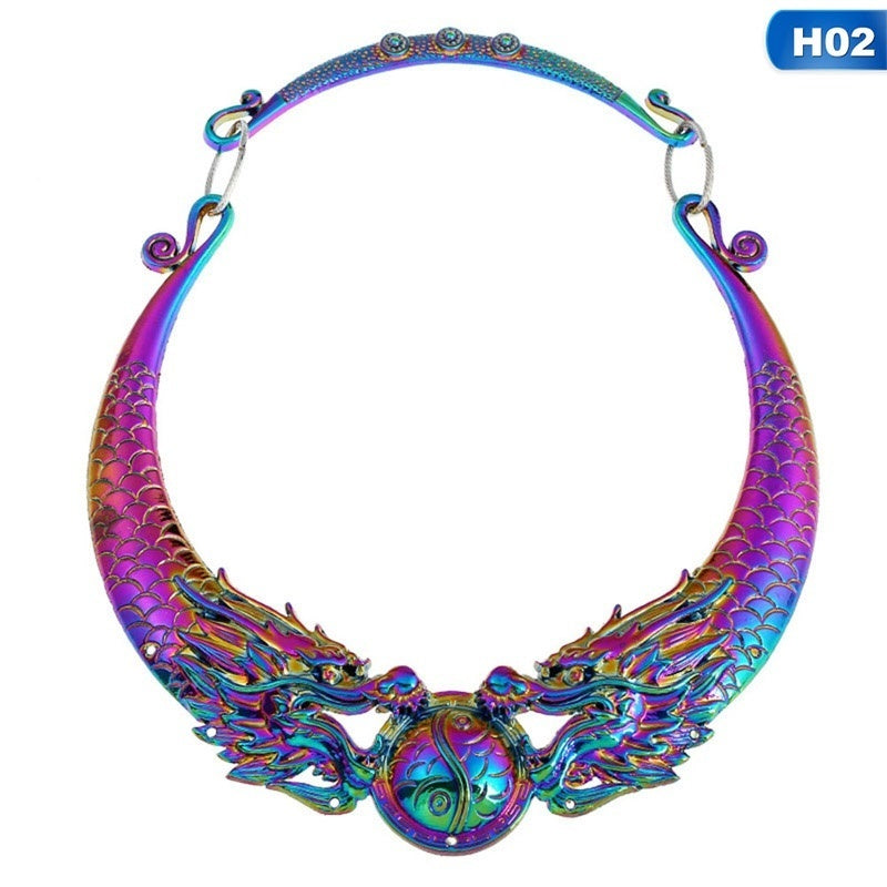 Women'S Fashion Charm Vintage Necklace Carved Peacock Collar Necklaces Chunky Choker Retro Silver Statement Ethnic Jewelry Accessories