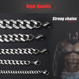 Fashion Jewelry 3/5/6/8/10mm Curb Cuban Mens Necklace Chain Silver Gold Black Stainless Steel Necklaces for Men