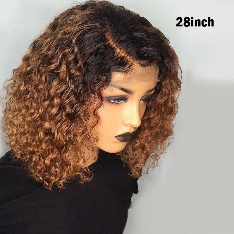 Women Short Curly Lace Front Hair Wig Ombre Brazilian Bob Water Wave Wig