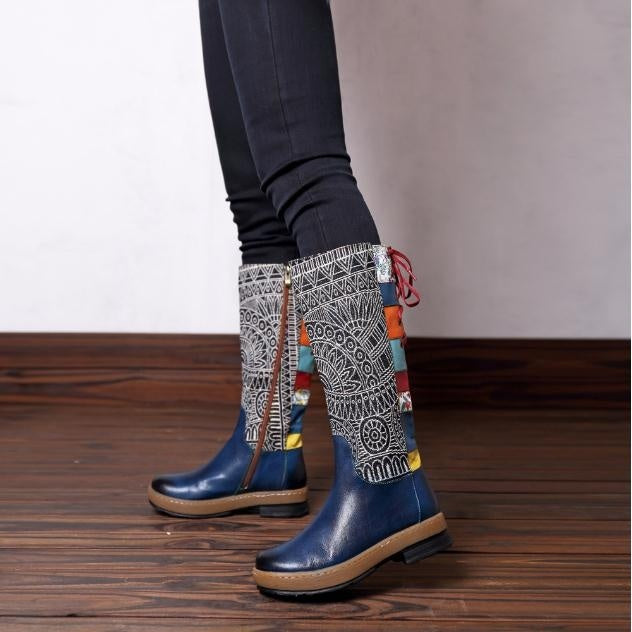 Vintage Bohemia Pattern Handmade Leather Women's Tall Boots Top Quality Boho Zip Strap Lace Up Women Knee High Boots Flats Long Boots Stivali Botas Botte