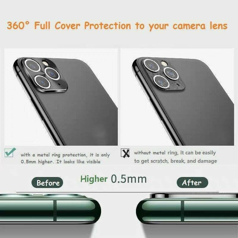 For iPhone 11 Pro Max Rear Camera Tempered Glass Lens Metal Screen Protector