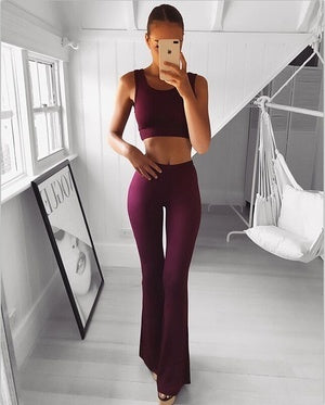 Fashion Women Solid Color High Waist Long Flare Pants Casual Slim Fit Street Pants Yoga Pants Shaping Pants 5 Colors S-2XL