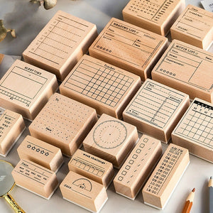 1pc Wooden Seal Basic Handwritten Seal Number Wooden Timetable Seal Calendar Stamp for Planner