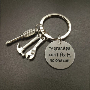 If Grandpa Can't Fix It, No One Can - Keychain for Grandpa or Dad -- Mechanic Grandpa or Dad Daddy Keyring,Gift for Dad