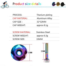 Load image into Gallery viewer, KRSEC Road MTB Mountain Bike Top Cap 1-1/8' For Headset/Stem Titanium-plated