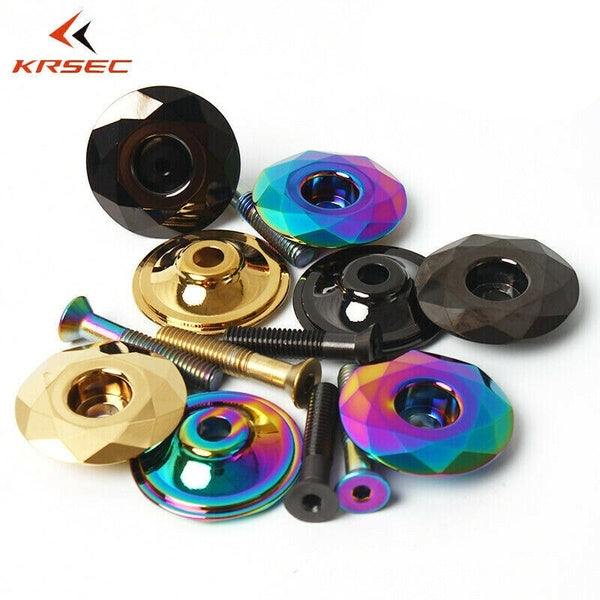 KRSEC Road MTB Mountain Bike Top Cap 1-1/8' For Headset/Stem Titanium-plated