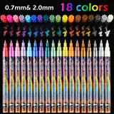 18 Colors Metallic Marker Pens, 0.7 mm Extra Fine Point Paint Pen, Metallic Painting Pens, Metallic Permanent Markers for Cards Writing Signature Lettering
