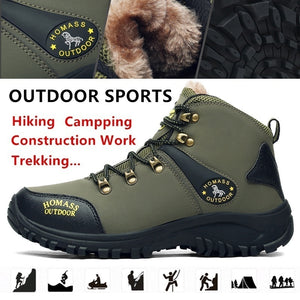 Winter Men High Quality Mountain Climbing Boot with Thermal Protection and Cold-proof Functions Safety Work Shoes Snow Boots Waterproof and Anti-smashing Hiking Shoes