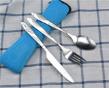 3pcs/set Dinnerware Portable Printed Stainless Steel Spoon Fork Steak Knife Set Travel Cutlery Tableware with Bag
