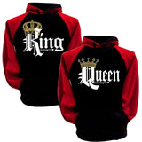 King and Queen  Long Sleeve Matching Couple Hoodies Pullover Hoodie Sweatshirts Plus Size S-5XL