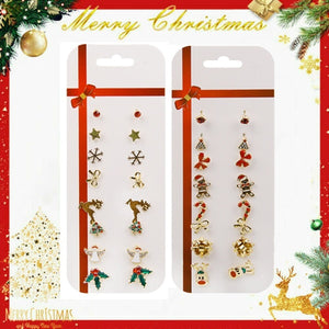 8 Pairs/Set Christmas Tree Snowman Deer Bell Ear Stud Earrings Xmas Party Jewelry Gift
