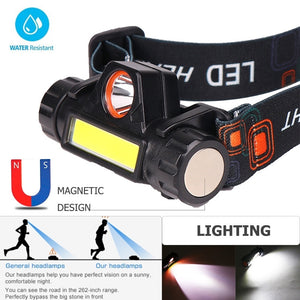 New Outdoor Camping Portable Mini COB LED Headlamp USB Charging Fishing Headlights Flashlight