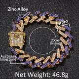 2019 Luxury Full Paved Crystal Bracelets for Men Iced Out Hand Chain Rhinestones Bracelet Cuban Link Blue/black Multi-colored Hand Chain Jewelry