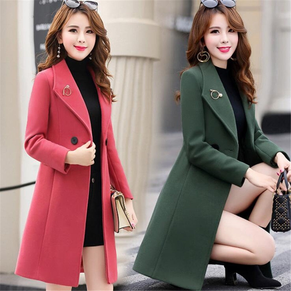 2020 Autumn and Winter Woolen Coat Female Mid-Long Korean Temperament Women's Popular Outerwear Woolen Coat S-XXXL