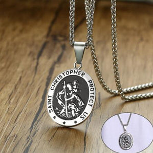 Mens Vintage Round Saint Christopher Necklace with Stainless Steel Chain 60cm