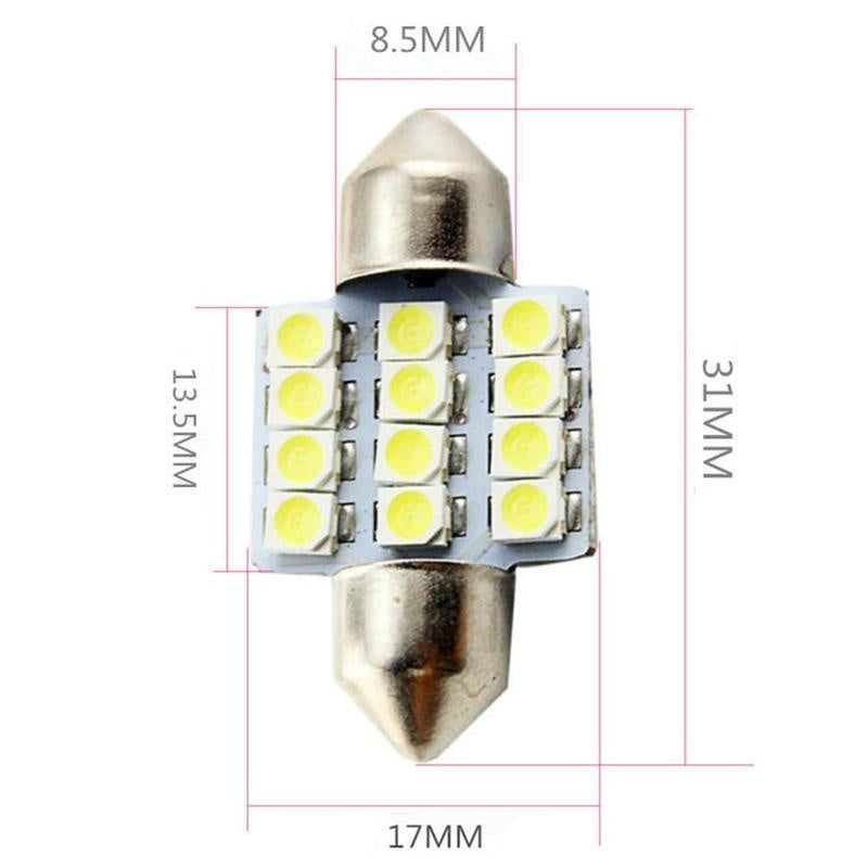 4 X White LED Interior Map Dome Trunk Lights 31mm Bulbs 3528/1210