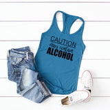 Women Plus Size Tank Tops Fashion Caution May Contain Alcohol Print Tank Ladies Vest Femme Running Sleeveless T Shirt