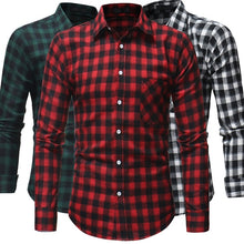 Load image into Gallery viewer, Plaid shirt new autumn and winter flannel red checkered shirt men's casual shirt long-sleeved shirt men's cotton men's check shirt