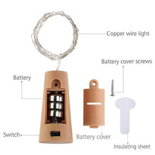 Load image into Gallery viewer, 2M 20  LED Lights Wine Bottle Cork Lights Copper Wire String Lights for Christms Wedding Festival Party Decor