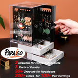Paraiso Acrylic Jewelry Box for Women Jewelry Organizer Necklace Earrings & Bracelet Hanger Display Storage Case with Vertical Drawer