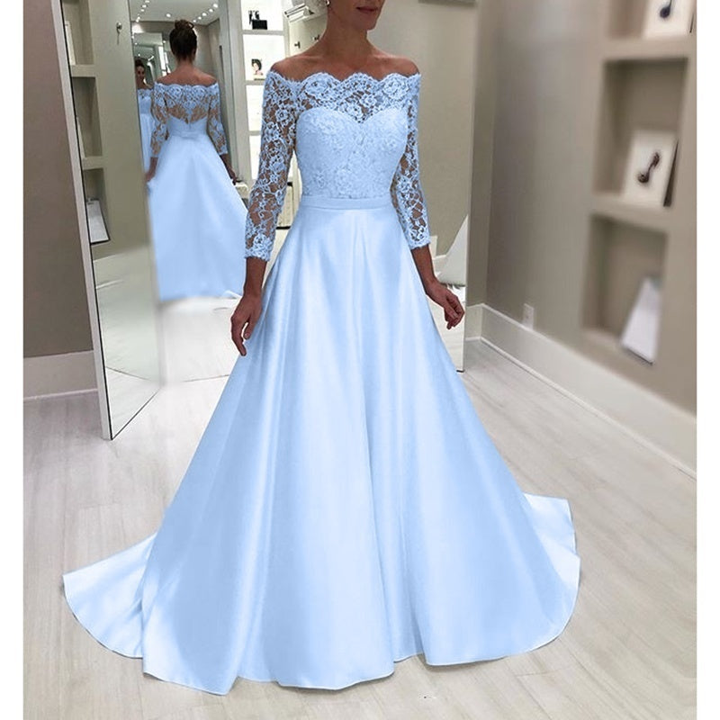 New Plus Size Luxury High Quality Women Off Shoulder Long Lace Sleeve Elegant Solid Bridesmaid Wedding Maxi Dress Lace Patchwork Floor Length Princess Evening Party Long Porm Dress