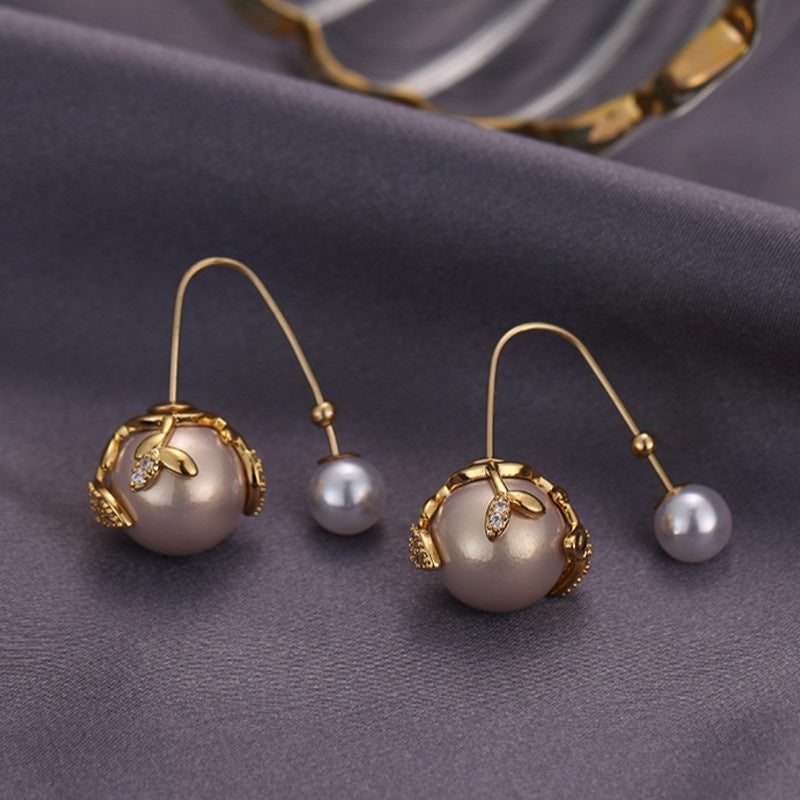 1 Pair of Women's Fashion Beautiful 18k Gold Inlaid Zircon Pearls Hanging Earrings Gift Ladies Pearl Earrings Best Gift Packaging Pearl Pendant Personality Pearl Jewelry To Ladies Gift