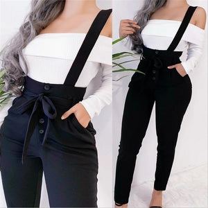 High Waisted Casual Suspender Long Pant Women Fashion Skinny Trousers Slim Pencil Pants