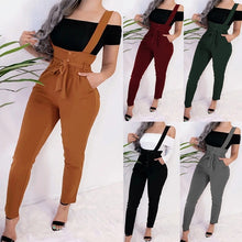 Load image into Gallery viewer, High Waisted Casual Suspender Long Pant Women Fashion Skinny Trousers Slim Pencil Pants