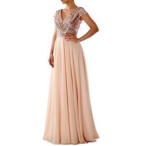 New Women Fashion Sequins V Neck Dress Sexy Long Spliced Dress Bridesmaid Wedding Gown Evening Party Elegance