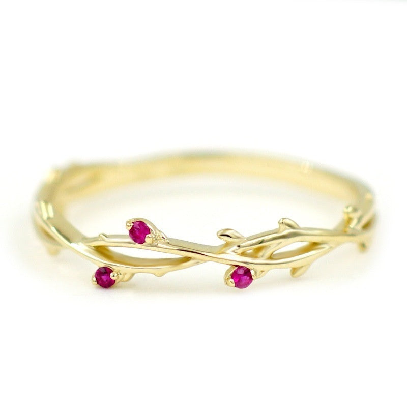 Junxin Dainty Woman 925 Sterling Silver Pear Cut Rose Red Topaz Leaf Finger Ring 18k Gold Plated Cute Female Bride Wedding Jewelry Gifts Size 6-10