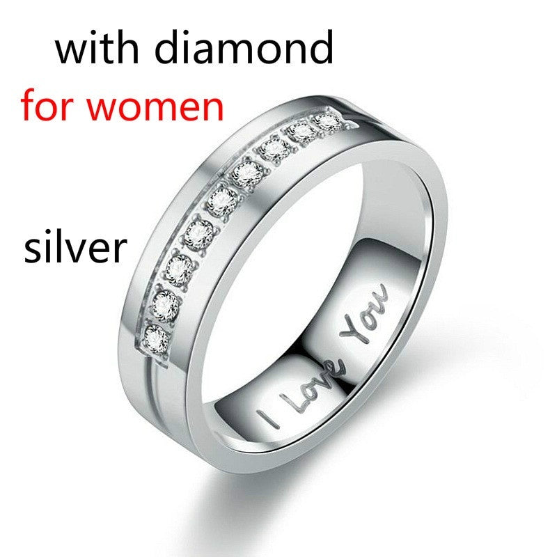 Europe and the United States New I LOVE YOU Titanium Steel Diamond Couple Ring Love Wedding Bands  Package Including: 1Pcs Ring (not a Pair
