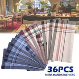 Men's Vintage Plaid Stripe Handkerchief 38cm Cotton Business Chest Towel Pocket Hanky Party Accessories