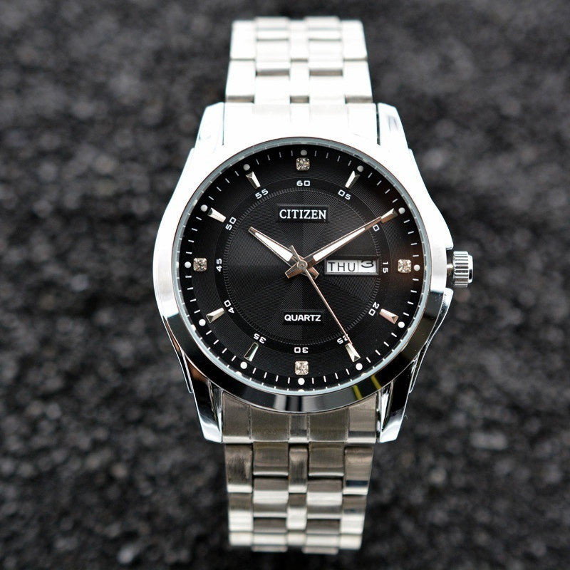 CITIZEN Mens Stainless Steel Band Date Quartz Watch Black White