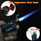 Three Nozzle Torch Turbo Lighter Blue Flame Jet Lighters Spray Gun Butane Lighters with Keychain Windproof Gas Cigarette Lighter For Man Smoking Accessorie(No Gas)