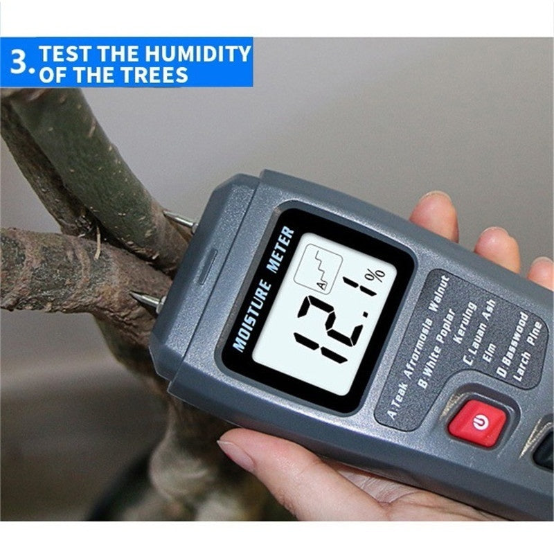 2 Pins LCD Digital Moisture Meter Humidity Tester Timber Damp Detector Conductivity Moisture Hygrometer for Wood Carton Tree
