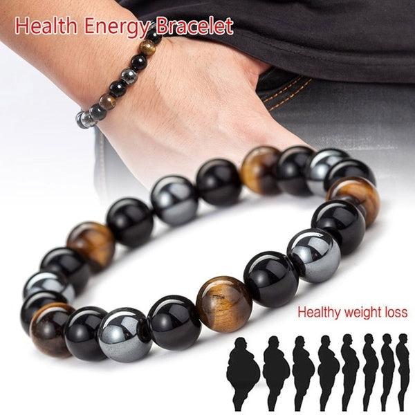 8/10mm Tiger Eye & Hematite & Black Obsidian Stone Bead Bracelet Men Bracelet Jewelry Gift