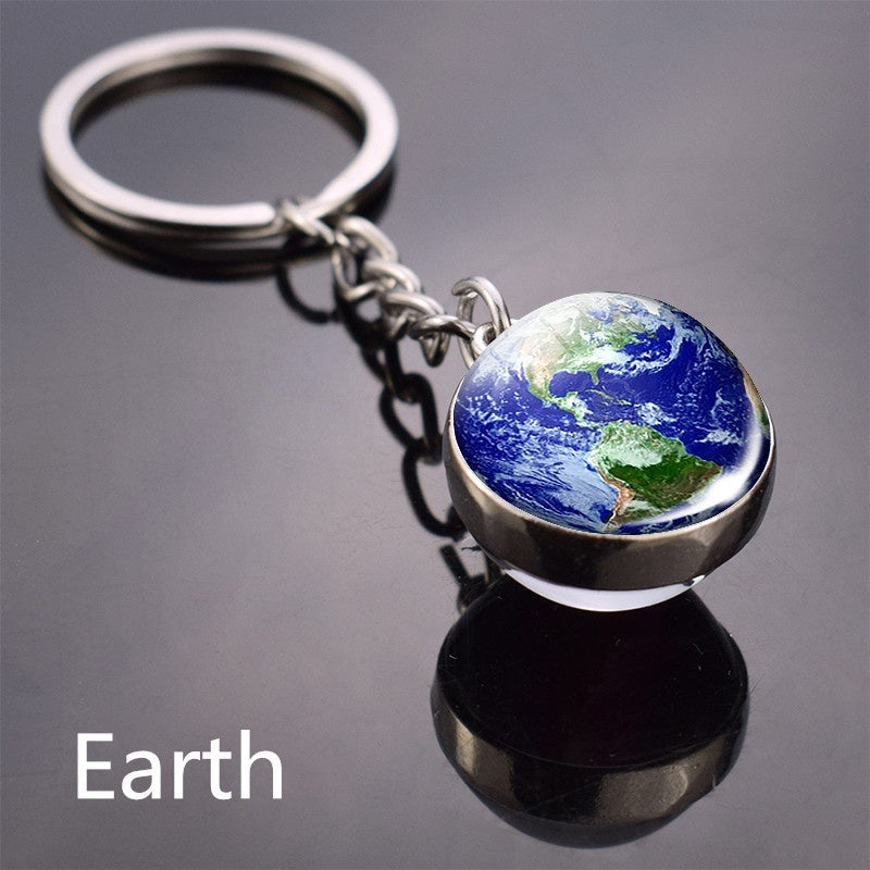 Crystal Glass Ball Full Moon Keychain Nebula Pendant Solar System Glass Cabochon Long Keychains Galaxy Space Astronomy Planet Gift Jewelry