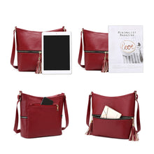Load image into Gallery viewer, Tassel Women Messenger Solid Color Handbags Shoulder Leather Crossbody Bags