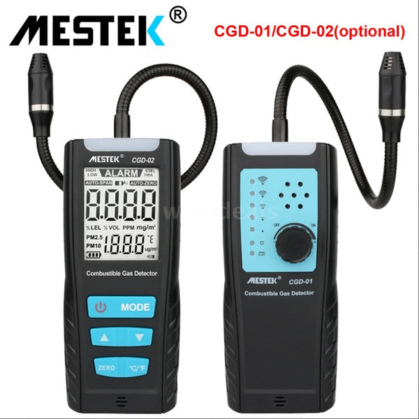 MESTEK Gas Analyzer Meter Automotive Combustible Gas Sensor Detector Air Quality Monitor Gas Leak Detectors with Alarm CGD-01/CGD-02(Optional)  with Box(Without  Battery)