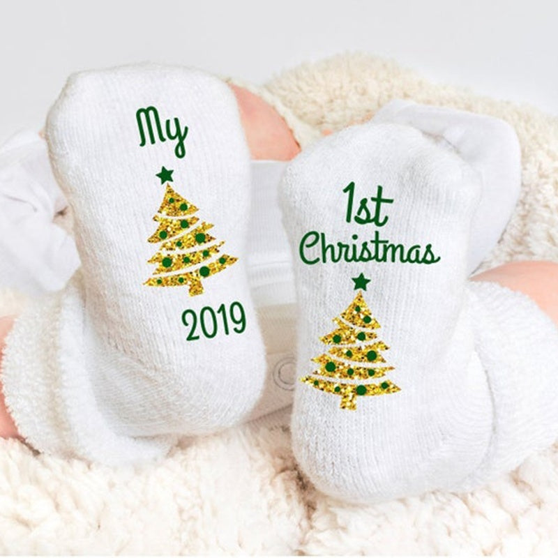 2019 New Arrival Cute Fashion Boys Girls Baby Kids Children Christmas Tree Print Socks Winter Antiskid Cotton Knitted Warm Xmas Socks 0-3 Years Newborn Infant Thicking Non-Slip Socks