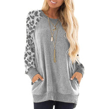 Load image into Gallery viewer, Casual Women's Plus Size Round Collar Leopard Splicing Long Sleeve Tops Loose Shirts Autumn Pocket Pullover Tops